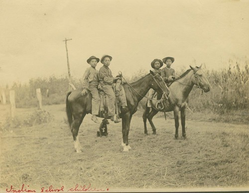 Pottawatomie children on horseback - Page