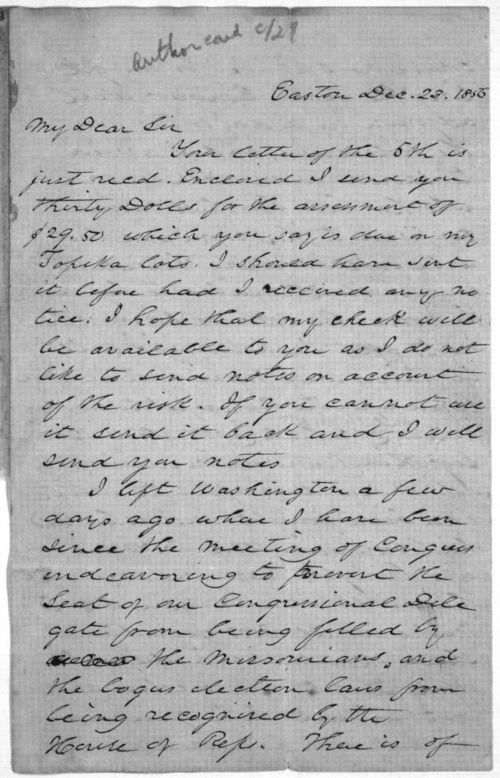 Andrew Horatio Reeder to Franklin Crane - Page