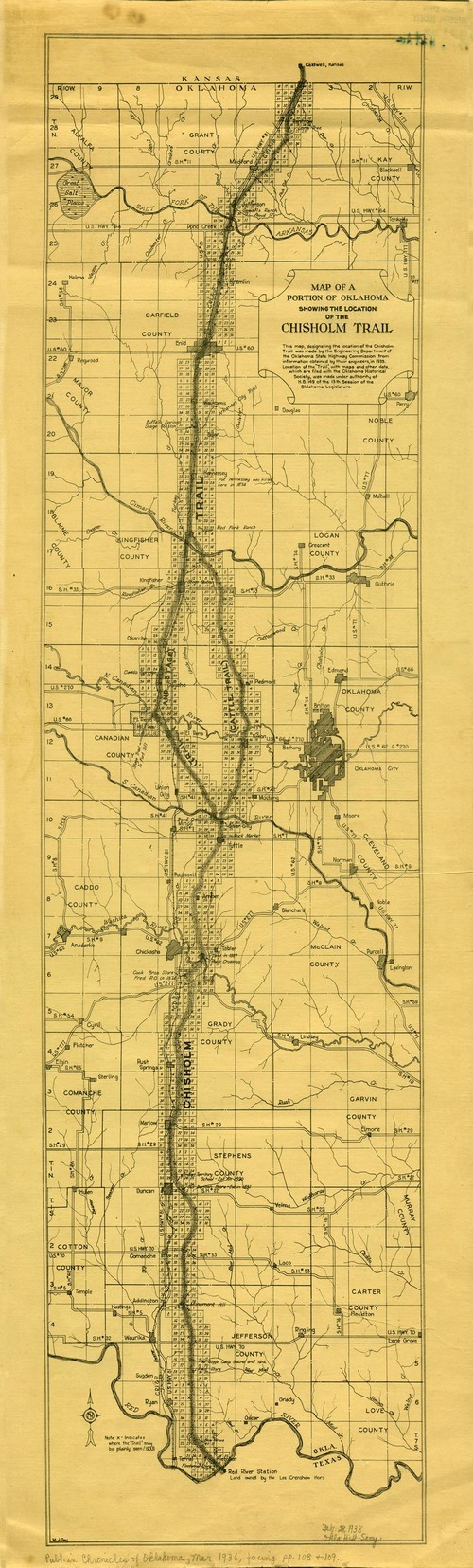 Map of a portion of Oklahoma showing the location of the Chisholm Trail - Page