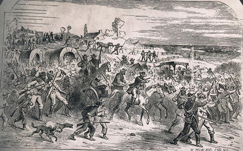 Illustration showing border ruffians marching on Lawrence, Kansas  Territory, copied from History of Kansas by J. N. Holloway
