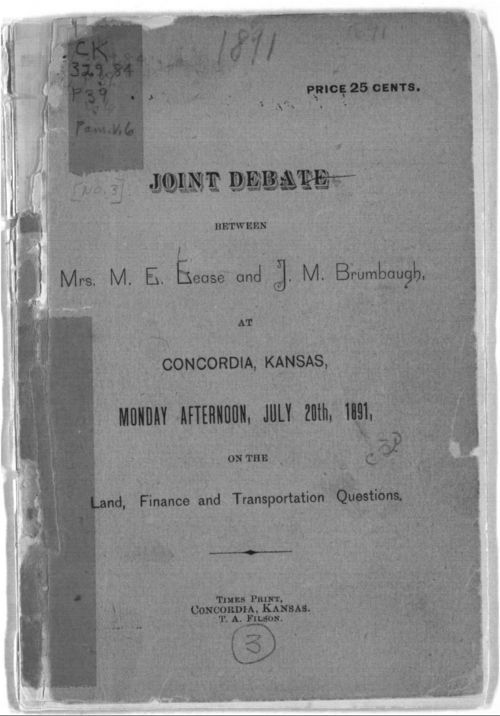 Joint Debate Between Mrs. M. E. Lease and J. M Brumbaugh - Page