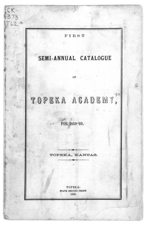 First semi-annual catalogue of Topeka Academy - Page