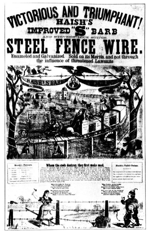 1880s advertisement for barbed wire fencing