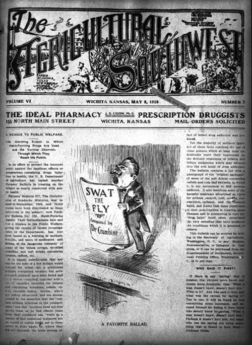 Swat the fly composed by Dr. Crumbine, a cartoon copied from Agriculture Southwest - Page