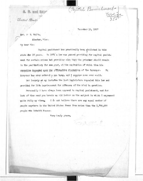 Governor Edward W. Hoch to Rev. A. B. Wolfe - Page