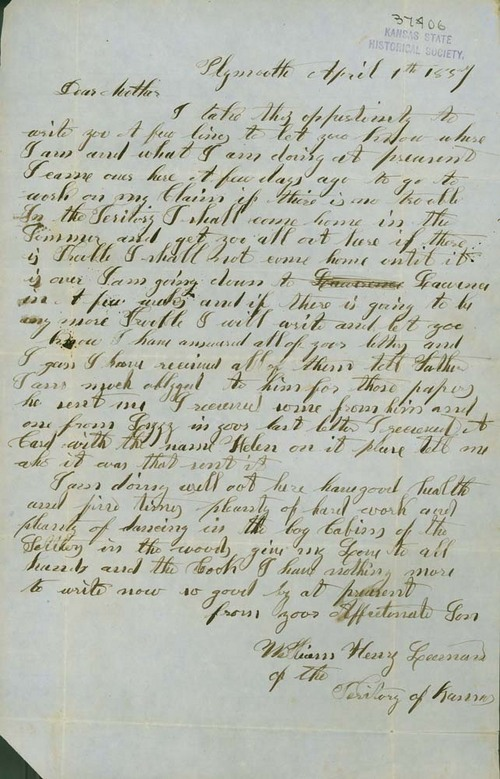 William Henry Leeman to his mother - Page