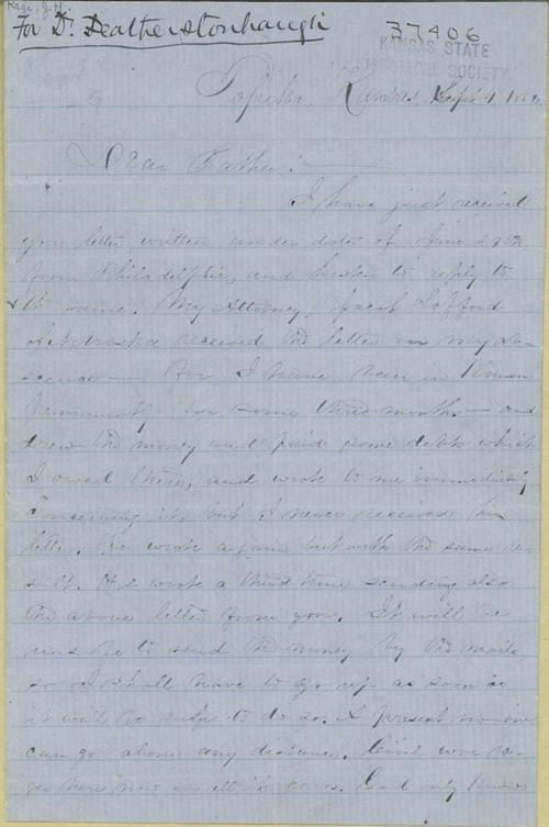 John H. Kagi to his father - Page