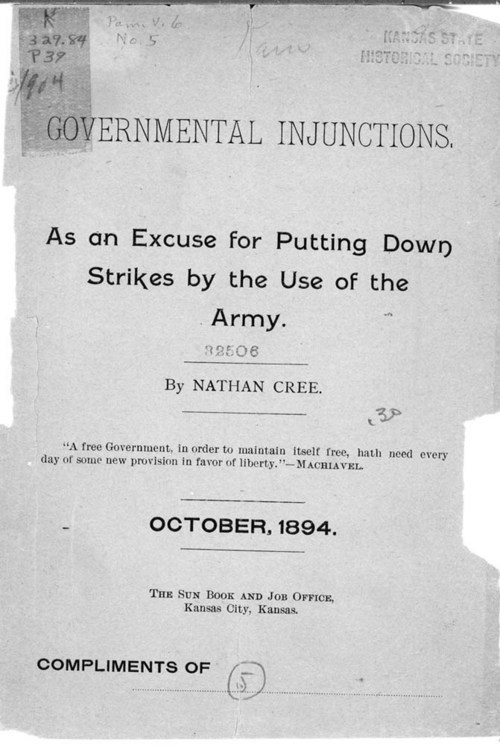Governmental injunctions, as an excuse for putting down strikes by the use of the army - Page