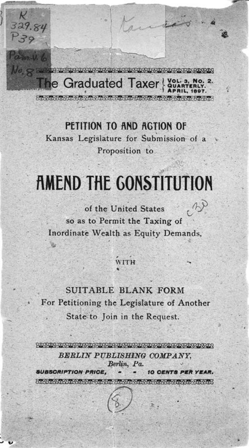 Petition to and action of Kansas legislature for submission of a proposition to amend the constitution of the United States as to permit the taxing of inordinate wealth as equity demands - Page