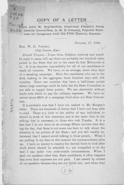 John W. Breidenthal to W.D. Vincent - Page