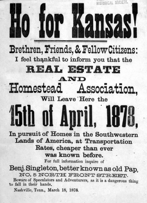 Image of pamphlet by Benjamin Singleton encouraging African Americans to emigrate to Kansas, 1877