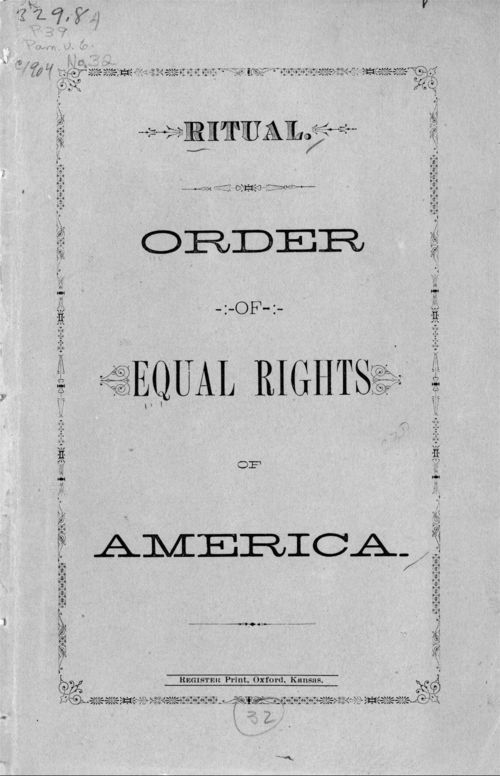 Ritual. Order of Equal Rights of America - Page