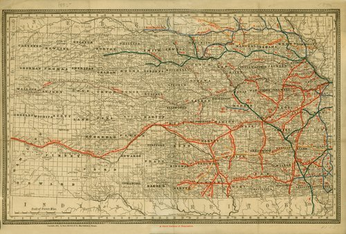 1885 official railroad map of Kansas