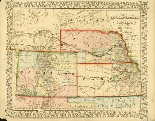 Map of Kansas, Nebraska and Colorado - Page