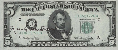 Photo of five dollar bill signed by U. S. Treasurer Georgia Neese Clark, 1950