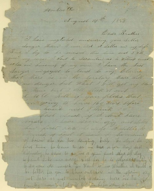 "James Butler ""Wild Bill"" Hickok to Horace Hickok. - Page"