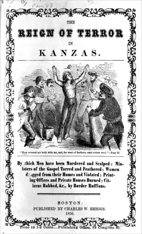 Image of title page of a publication by Charles W. Briggs called The Reign Of Terror In Kanzas, 1856