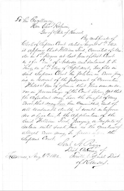 Samuel A. Riggs to Governor Charles Robinson - Page