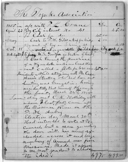 Topeka Association account book, 1855-1857 - Page