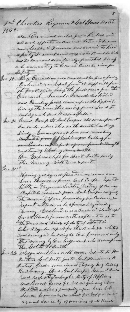 First Cherokee Regiment day book - Page