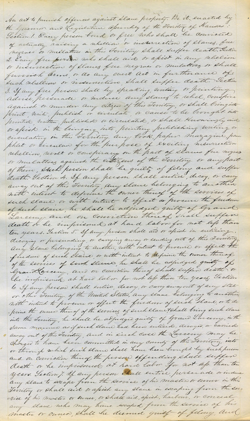 An act to punish offences against slave property - Page