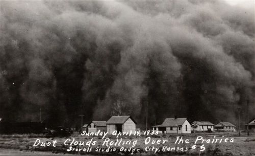 Dust clouds rolling over the prairies, Hugoton, Kansas - Page