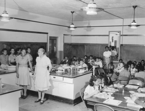 Photograph of lunch at Douglas School, Parsons, between 1935 and 1943