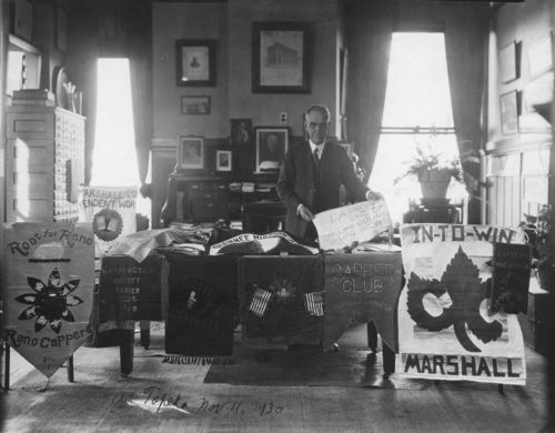 Arthur Capper displaying his banners and pennants - Page