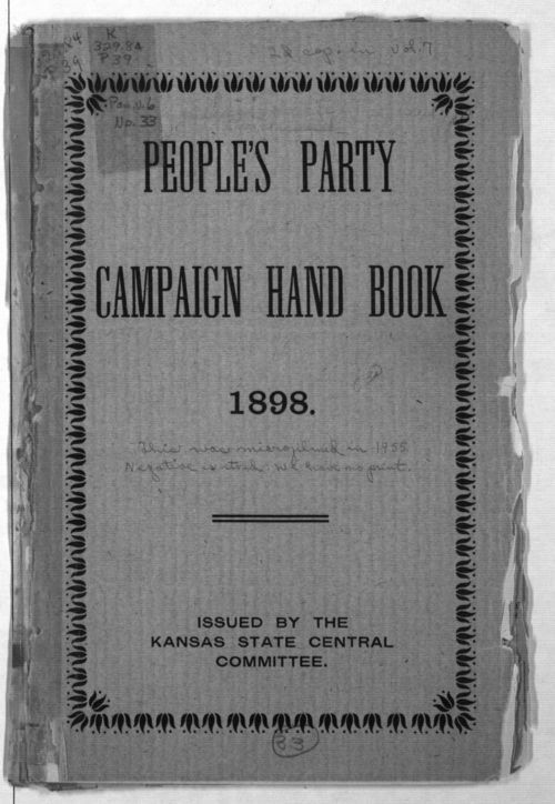 People's Party campaign hand book - Page