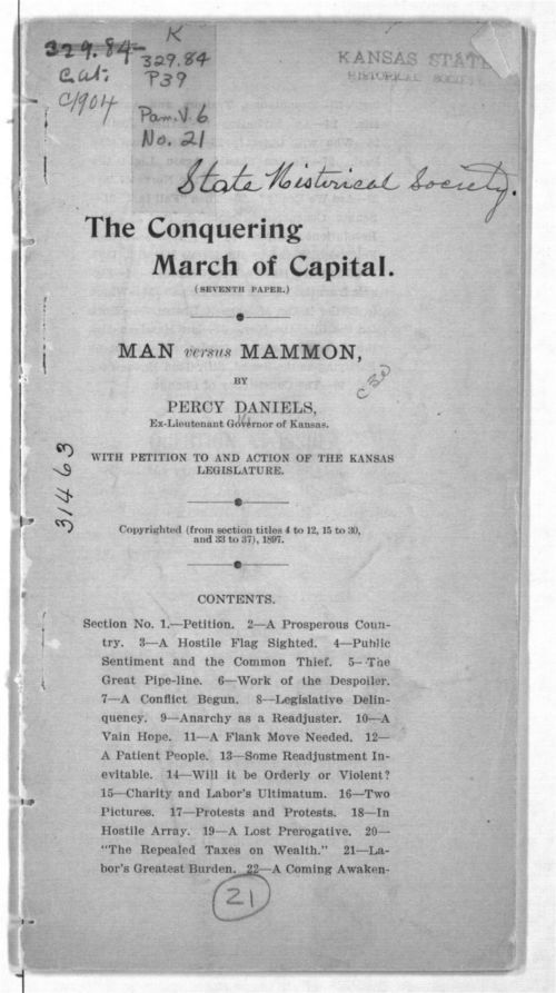 The conquering march of capital.  Man versus mammon - Page