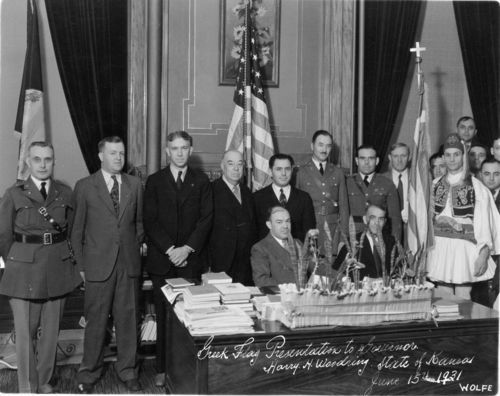 Greek flag presentation to Governor Harry H. Woodring - Page