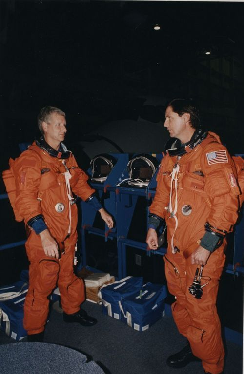Astronauts Steven A.  Hawley (left) and Gregory J. Harbaugh - Page
