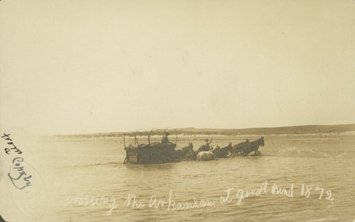 Covered wagon crossing the Arkansas River at Great Bend, Kansas - Page
