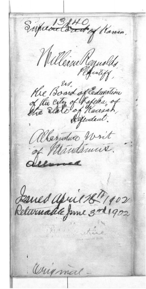 William Reynolds vs. The Board of Education of the City of Topeka, proceeding in mandamus - Page