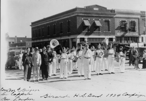 View of the members of the Girard High School Band of Girard, Kansas, campaigning for Governor Alfred Landon on October 26, 1934.