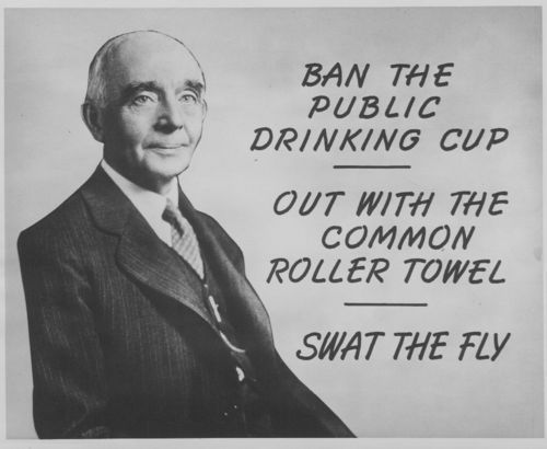 Public poster with Dr. Samuel J. Crumbine banning the public drinking cup, common roller towel, and encouraging the swatting of flies.