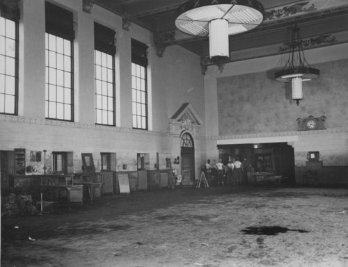 Interior of the Union Pacific Railroad depot after a flood - Page