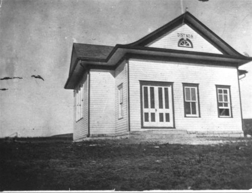Photograph of the Crocker school house in Chase County,  between 1890 and 1920.