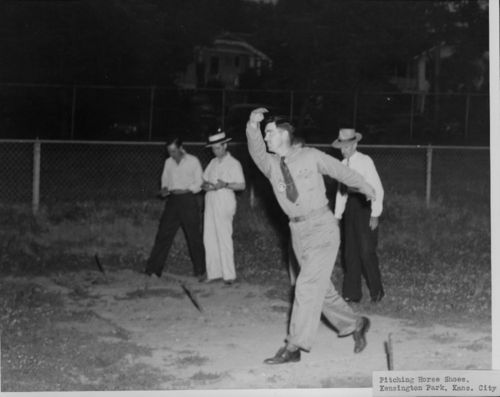 A group of men plays horseshoes in Kansas City, between 1935 and 1943