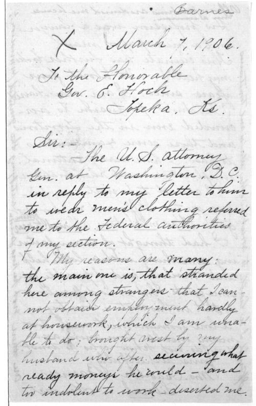 Isabella Barnes to Governor Edward Hoch - Page