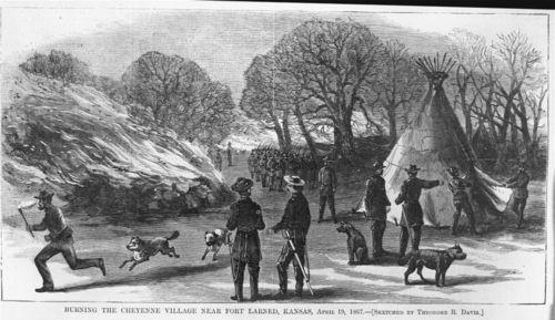 Burning the Cheyenne village near Fort Larned, Kansas - Page