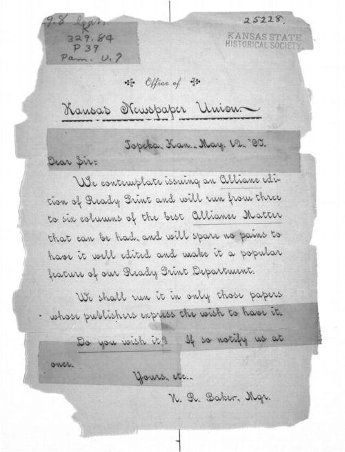 Kansas Newspaper Union letter - Page