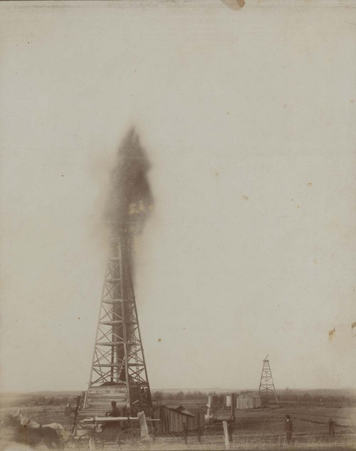 Oil well erupting, Peru, Kansas - Page