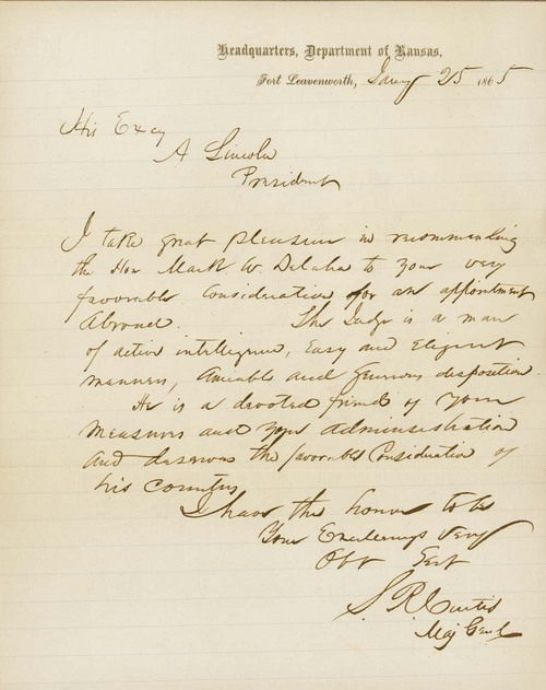 Samuel Ryan Curtis to Abraham Lincoln - Page