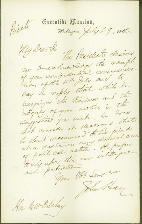 John Milton Hay to Mark W. Delahay - Page
