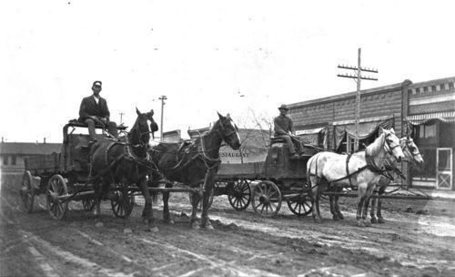 Horse drawn dray wagons in Oakley, Kansas - Page