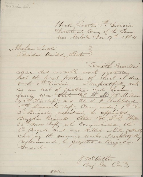 John McArthur to Abraham Lincoln, President of the United States - Page