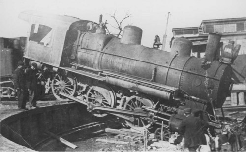 Locomotive engine in pit - Page