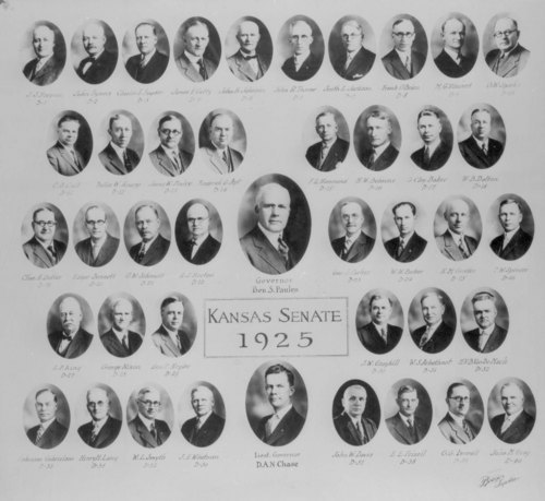 Annotated portraits of the Governor, Lt. Governor, and members  of the 1925 Kansas Senate legislature.