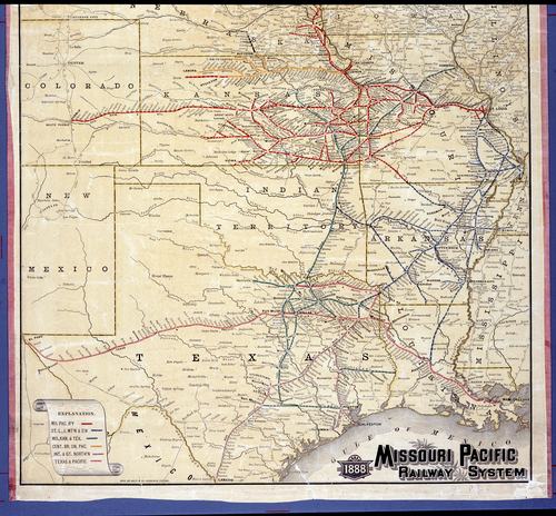 1888 Missouri Pacific railway system map